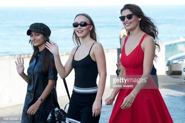 LilyRose Depp Laetitia Casta Kiara Carriere Joseph Engel and Louis Garrel attend 'L'Homme Fidele' Photocall at Aquarium on September 22 2018 in San...