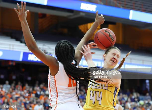 Kiara Lewis of the Syracuse Orange and Myah Selland of the South Dakota State Jackrabbits battle for a rebound during the second half in the second...