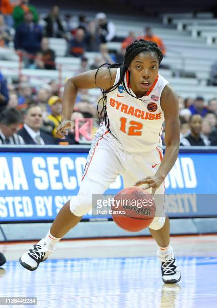 Kiara Lewis of the Syracuse Orange drives to the basket against the South Dakota State Jackrabbits during the second half in the second round of the...