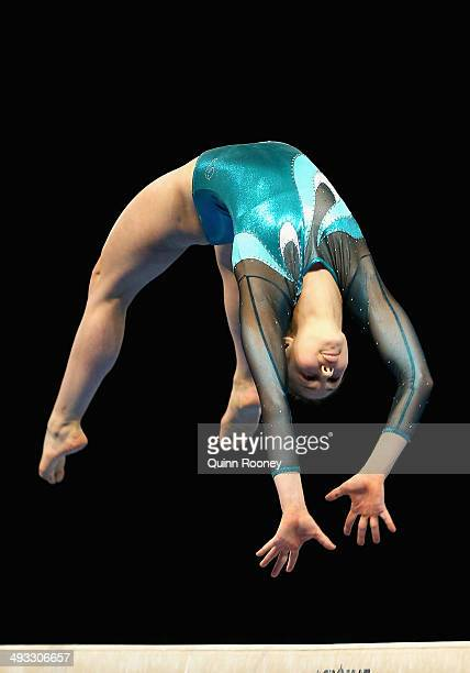 Kiara Munteanu of Victoria performs on the Beam during the Australian National Gymnastics Championships at Hisense Arena on May 23, 2014 in...