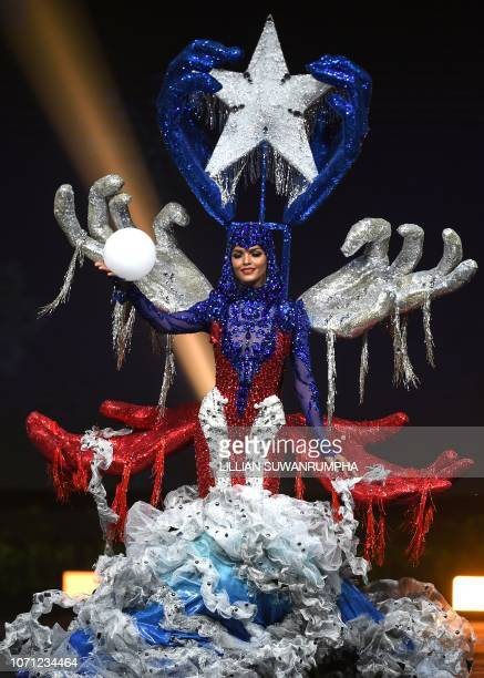 Kiara Ortega Miss Puerto Rico 2018 poses on stage during the 2018 Miss Universe national costume presentation in Chonburi province on December 10 2018