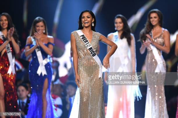 Kiara Ortega of Puerto Rico reacts after being selected as top five finalist during the 2018 Miss Universe Pageant in Bangkok on December 17 2018