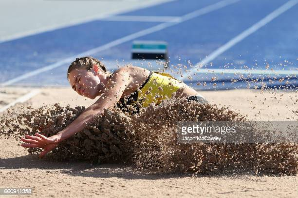 Kiara Reddingius of WA competes in the womens open heptathlon long jump during day six of the Australian Athletics Championships at Sydney Olympic...