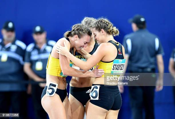 Kiara Reddingius shows her emotions as she is congratulated by her team mates after winning the Women's 800m in the Heptathlon event during the...
