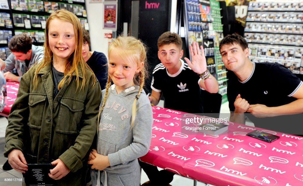 Kiaran Crook and Josh Davidson of The Sherlocks perform live and sign copies of their debut album 'Live for the Moment' during an instore session at HMV Manchester on August 21, 2017 in Manchester, England.