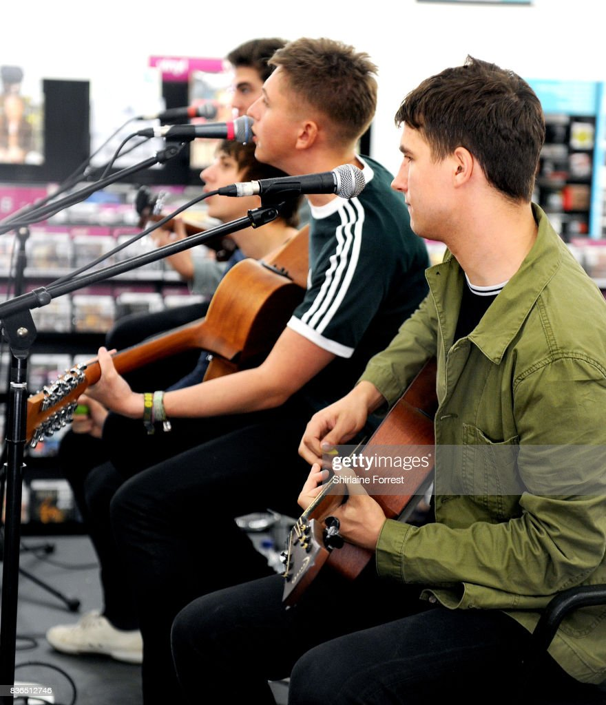 Kiaran Crook, Brandon Crook, Josh Davidson and Andy Davidson of The Sherlocks perform live and sign copies of their debut album 'Live for the Moment' during an instore session at HMV Manchester on August 21, 2017 in Manchester, England.