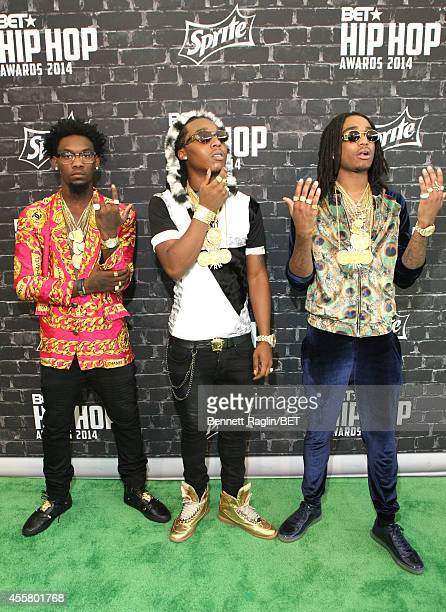 "Kiari ""Offset"" Cephus, Kirshnik ""Takeoff"" Ball and Quavious ""Quavo"" Marshall of Migos attend the BET Hip Hop Awards 2014 presented by Sprite at..."