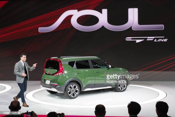 Kia's Saad Chehab introduces the new 2020 Kia Soul X at AutoMobility LA, the trade show ahead of the LA Auto Show, November 28 at the Los Angeles...