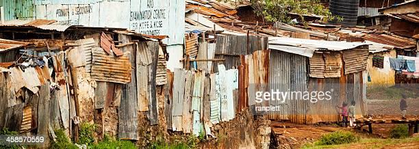 kibera, a neighborhood in nairobi, kenya - slum stock pictures, royalty-free photos & images