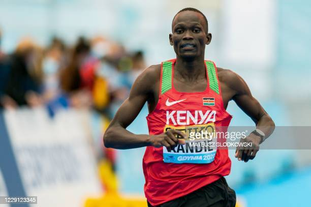 Kibiwott Kandie of Kenya finishes second in the men's race of the 2020 IAAF World Half Marathon Championships in Gdynia Poland in October 17 2020