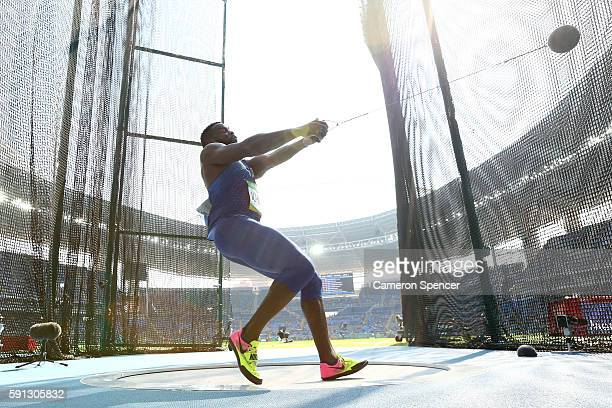 Kibwe Johnson of the United States competes in the Men's Hammer Throw Qualifying Round on Day 12 of the Rio 2016 Olympic Games at the Olympic Stadium...