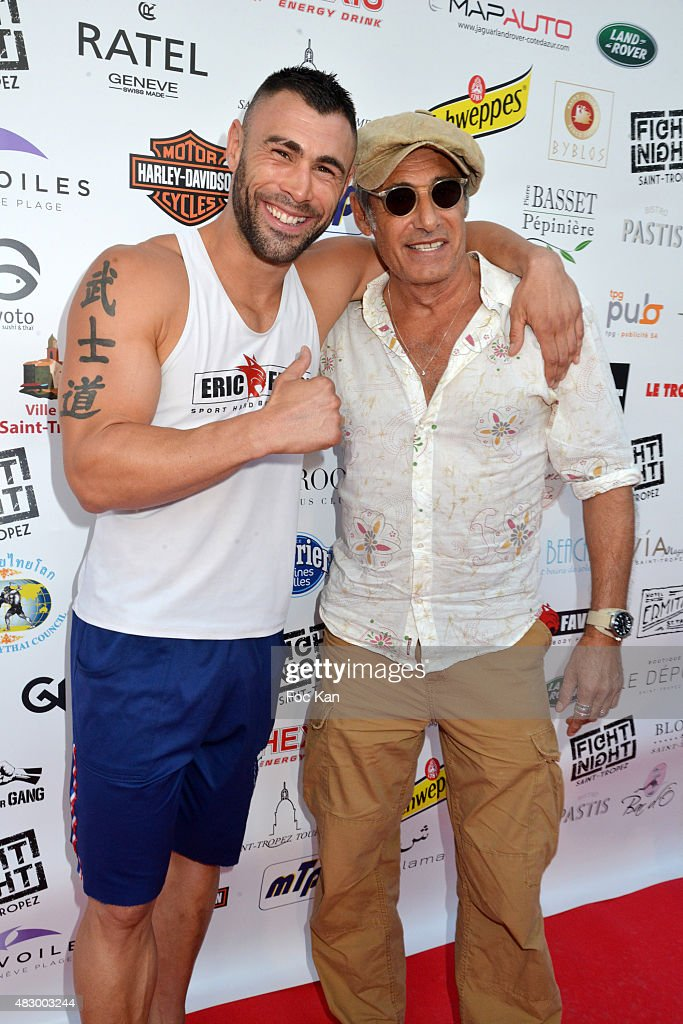Kick boxing champion Yohan Lidon and Gerard Lanvin attend the 'Fight Night 2015' Gala Show at La Citadelle de Saint Tropez on on August 4, 2015 in Saint-Tropez, France.