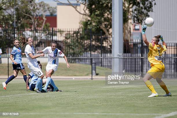 A kick by Princess Ibini of Sydney FC flies over Brianna Davey of Melbourne City and into the net for a goal during the round 14 WLeague match...