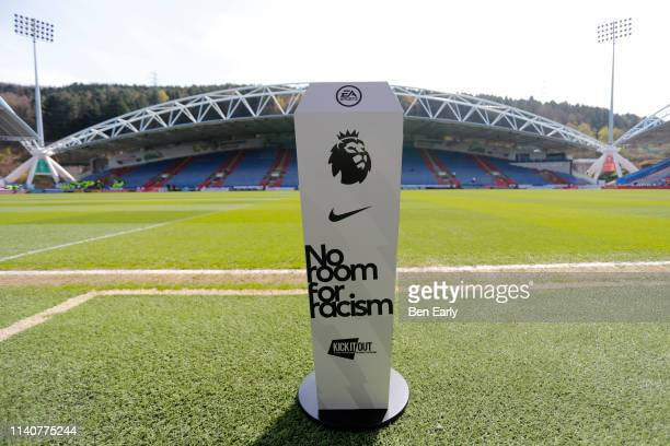 Kick It Out Campaign No room for racism ball stand before the Premier League match between Huddersfield Town and Leicester City at John Smith's...