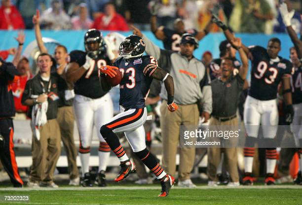 Kick returner Devin Hester of the Chicago Bears returns the opening kickoff 92yards for a touchdown against the Indianapolis Colts in the first...