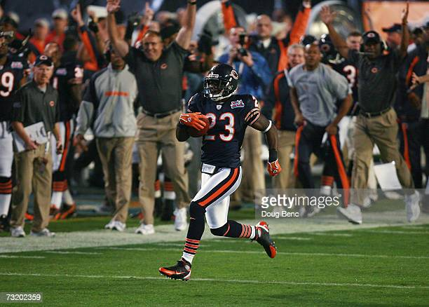 Kick returner Devin Hester of the Chicago Bears returns the openning kickoff 92yards for a touchdown against the Indianapolis Colts in the first...
