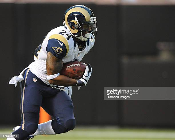 Kick returner Isaiah Pead of the St Louis Rams returns a kickoff during a game against the Cleveland Browns at FirstEnergy Stadium in Cleveland Ohio...