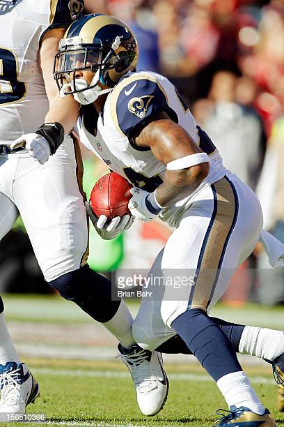 Kick returner Isaiah Pead of the St Louis Rams runs for 10 yards after bobbling a kickoff against the San Francisco 49ers in the second quarter on...