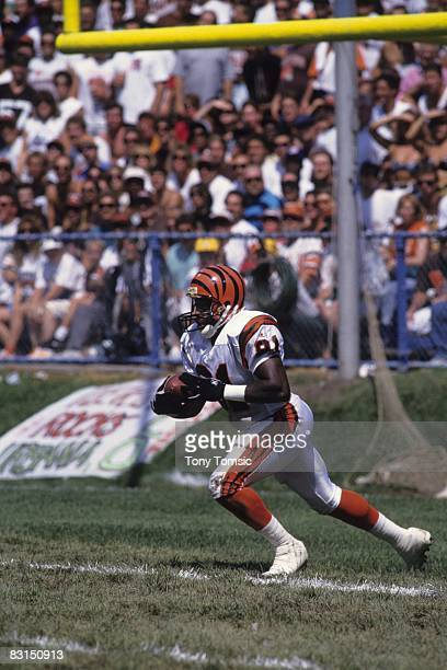 Kick returner Patrick Robinson of the Cincinnati Bengals returns a kick during a game on September 5 1993 against the Cleveland Browns at Municipal...