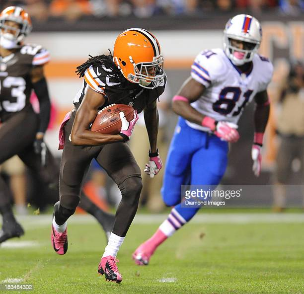 Kick Returner Travis Benjamin of the Cleveland Browns returns a punt during a game against the Buffalo Bills at FirstEnergy Stadium in Cleveland Ohio...