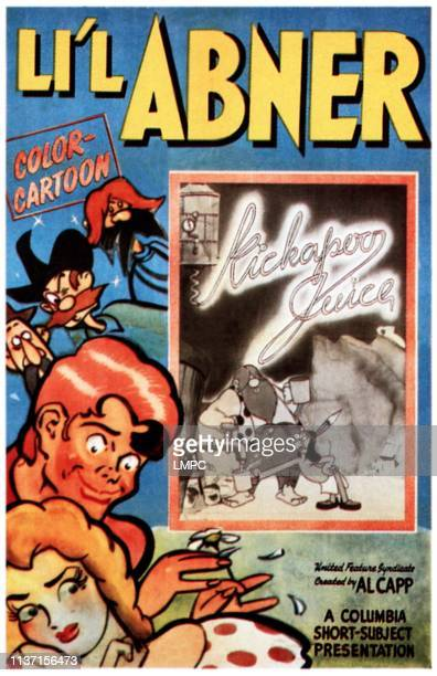 Kickapoo Juice, poster, left second from bottom: Li'l Abner, bottom left: Daisy Mae Yokum, 1944.
