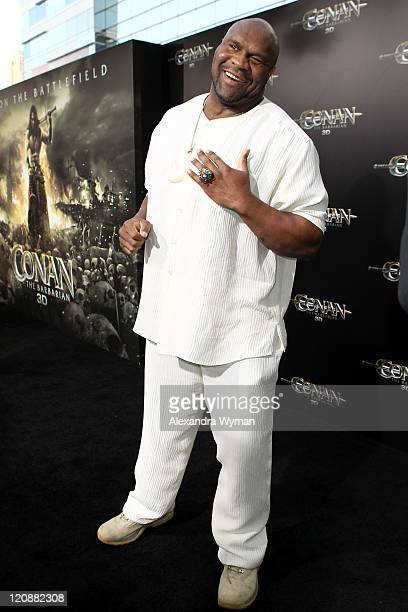 Kickboxer and actor Bob Sapp attends the world premiere of Conan The Barbarian held at Regal Cinemas LA Live on August 11 2011 in Los Angeles...