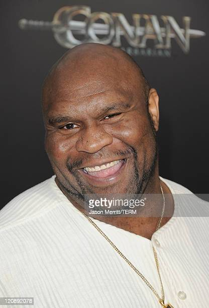 Kickboxer and actor Bob Sapp attends the world premiere of 'Conan The Barbarian' held at Regal Cinemas LA Live on August 11 2011 in Los Angeles...