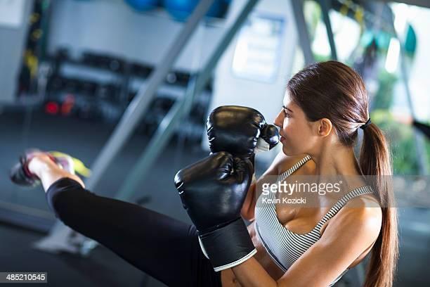 Kickboxer in training