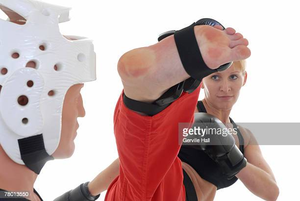 Kickboxer sparring.