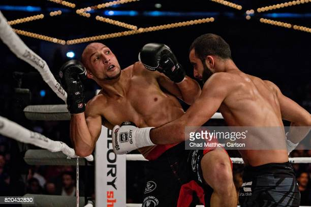 Glory 43 New York Giga Chikadze in action during featherweight final bout vs Kevin VanNostrand at Madison Square Garden Theater New York NY CREDIT...