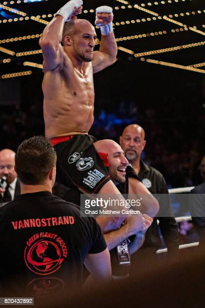 Glory 43 New York Kevin VanNostrand victorious after winning featherweight final bout vs Giga Chikadze at Madison Square Garden Theater New York NY...