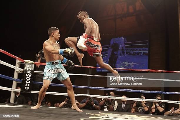 Lion Fight 17 Andy Singh in action vs Victor Saravia during bout at Foxwoods Resort and Casino Ledyard CT CREDIT Chad Matthew Carlson