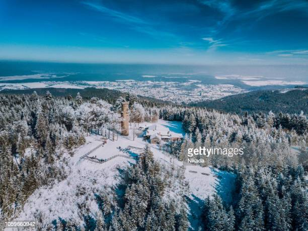 kickelhahn mountain in winter, ilmenau, thuringia, germany - thuringia stock pictures, royalty-free photos & images