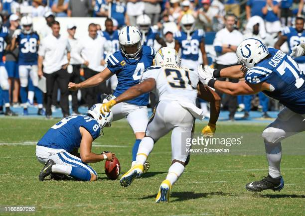 Kicker Adam Vinatieri of the Indianapolis Colts misses a field goal against the Los Angeles Chargers during the second half at Dignity Health Sports...