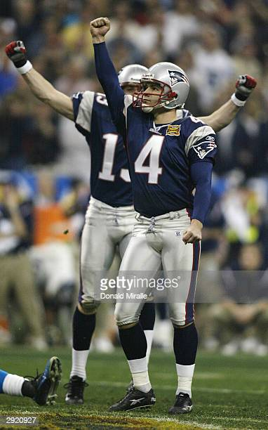 Kicker Adam Vinatieri of the New England Patriots celebrates after kicking a 41-yard game-winning field goal in the forth quarter during Super Bowl...