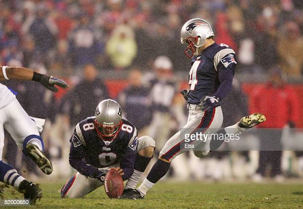 Kicker Adam Vinatieri of the New England Patriots kicks a field goal against the Indianapolis Colts during the AFC divisional playoff game at...
