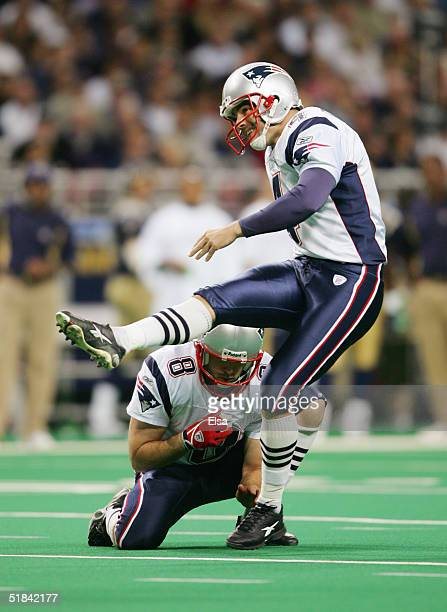 Kicker Adam Vinatieri of the New England Patriots kicks against the St. Louis Rams on November 7, 2004 at the Edward Jones Dome in St. Louis,...