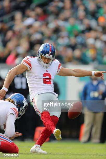 Kicker Aldrick Rosas of the New York Giants kicks a field goal against the Philadelphia Eagles during the first half at Lincoln Financial Field on...