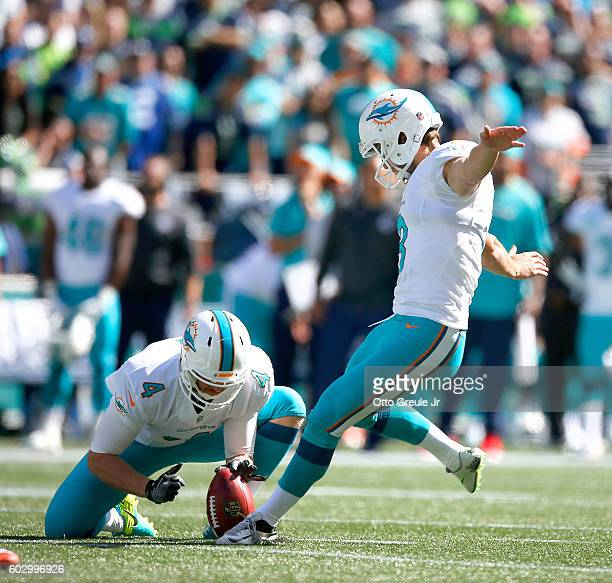 Kicker Andrew Franks of the Miami Dolphins hits a 41yard field goal to tie the game 33 in the first half against the Seattle Seahawks at CenturyLink...