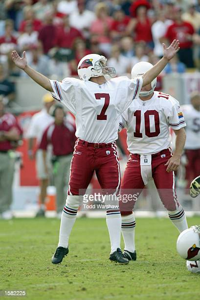 October 20: Kicker Bill Gramatica of the Arizona Cardinals celebrates after kicking the game-winning field goal in overtime against the Dallas...