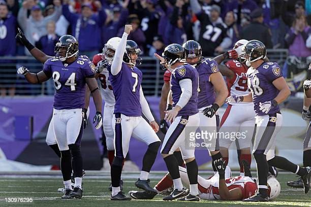 Kicker Billy Cundiff of the Baltimore Ravens celebrates after kicking the game winning kick to give the Ravens a 30-27 win over the Arizona Cardinals...