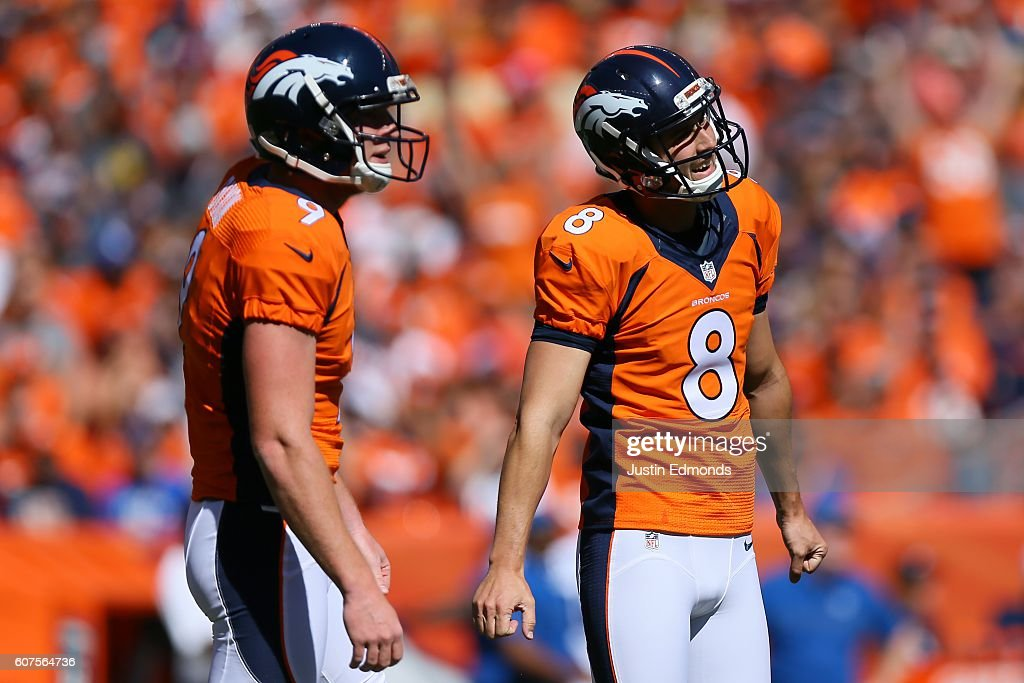 Kicker Brandon McManus #8 and punter Riley Dixon #9 of the Denver Broncos react to missing a field goal in the first quarter of the game against the Indianapolis Colts at Sports Authority Field at Mile High on September 18, 2016 in Denver, Colorado.