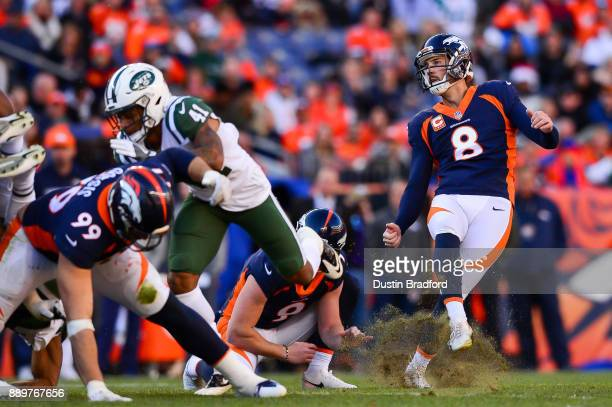 Kicker Brandon McManus of the Denver Broncos follows the flight of a second quarter field goal against the New York Jets at Sports Authority Field at...