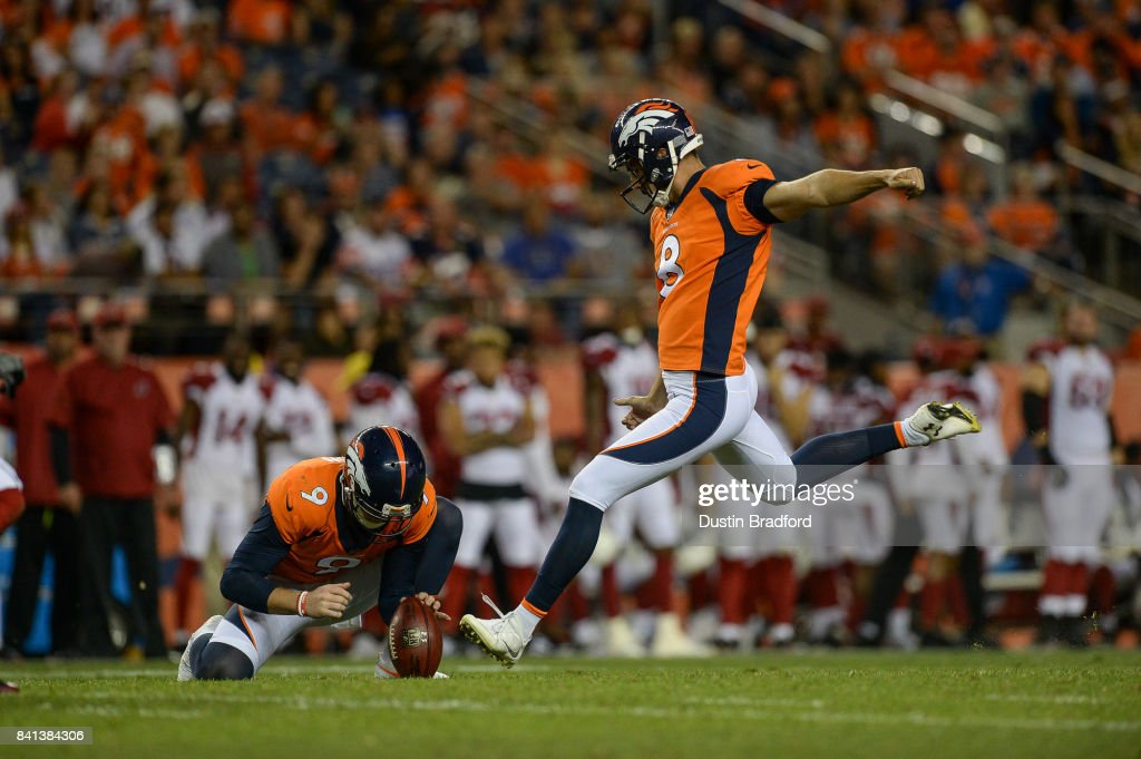 Kicker Brandon McManus #8 of the Denver Broncos kicks a 44 yard field goal against the Arizona Cardinals in the second quarter during a preseason NFL game at Sports Authority Field at Mile High on August 31, 2017 in Denver, Colorado.