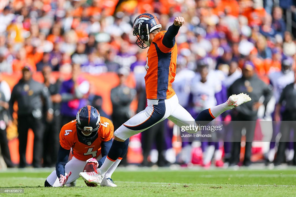 Kicker Brandon McManus #8 of the Denver Broncos kicks a first quarter 33 yard field goal against the Minnesota Vikings during a game at Sports Authority Field at Mile High on October 4, 2015 in Denver, Colorado.