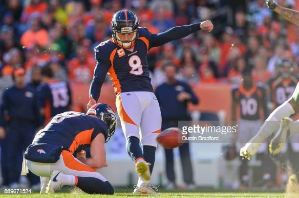 Kicker Brandon McManus of the Denver Broncos kicks a first quarter field goal against the New York Jets at Sports Authority Field at Mile High on...