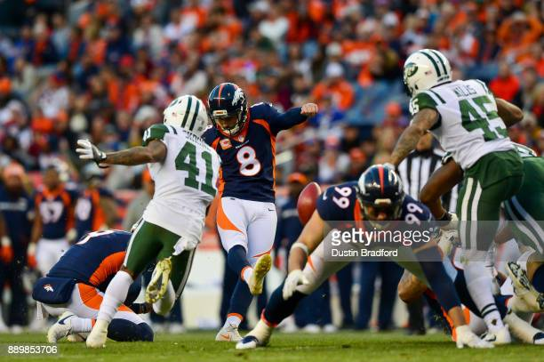 Kicker Brandon McManus of the Denver Broncos kicks a fourth quarter field goal against the New York Jets at Sports Authority Field at Mile High on...