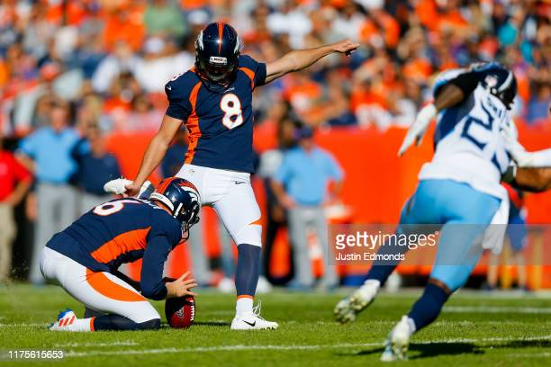 Kicker Brandon McManus of the Denver Broncos successfully kicks a 53-yard field goal on a hold from punter Colby Wadman during the second quarter...
