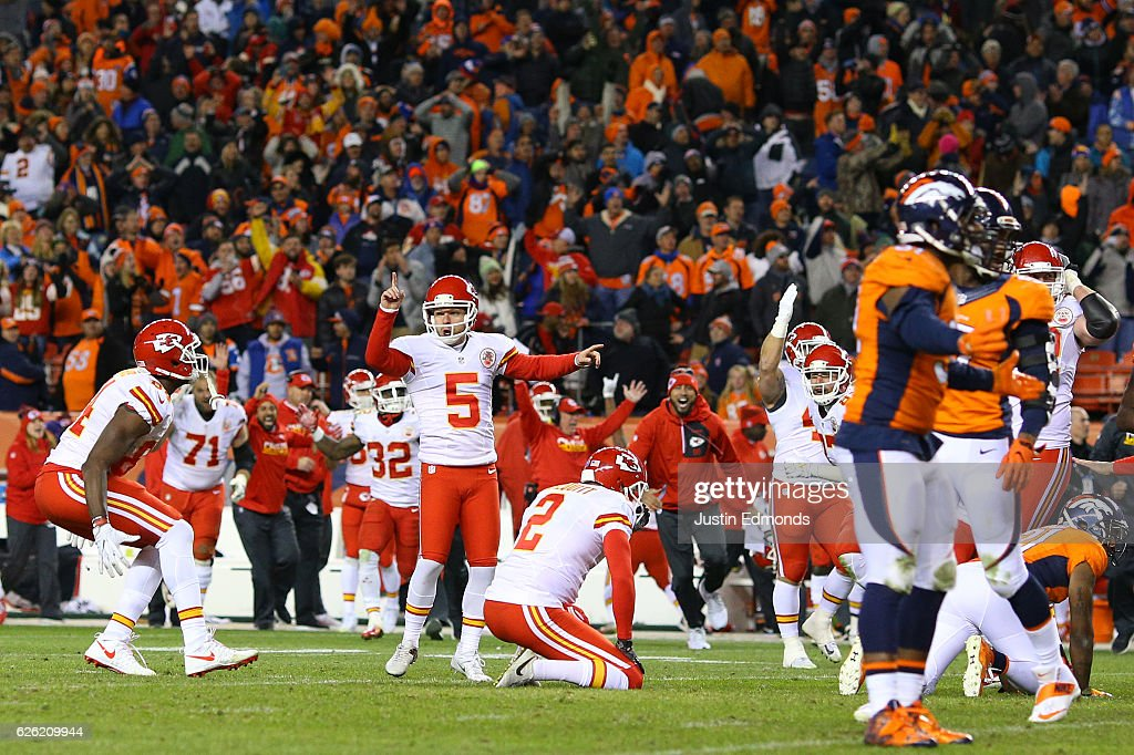 Kicker Cairo Santos #5 of the Kansas City Chiefs celebrates after making the game-winning field goal in overtime against the Denver Broncos at Sports Authority Field at Mile High on November 27, 2016 in Denver, Colorado.