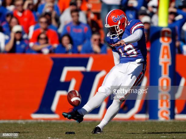 Kicker Caleb Sturgis of the Florida Gators kicks off against the Citadel Bulldogs during the game at Ben Hill Griffin Stadium at Florida Field on...